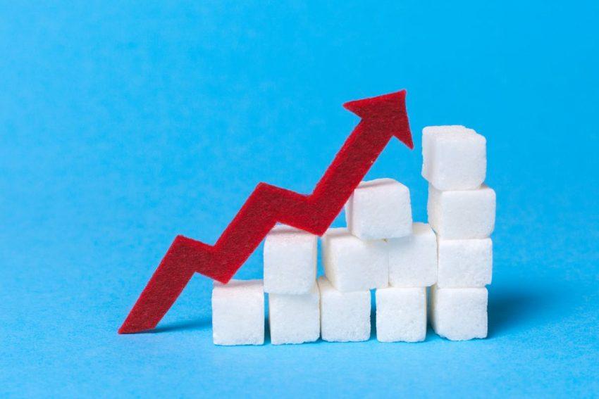 Wykres wypełniony kostkami cukru, które są jedną z przyczyn cukrzycy typu 1