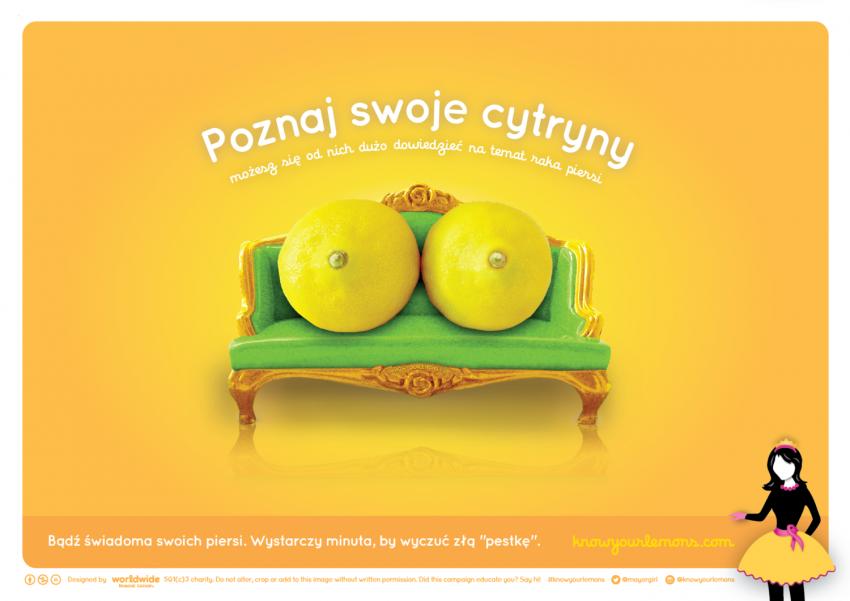 Dwie cytryny na zielonej kanapie na żółtym tle