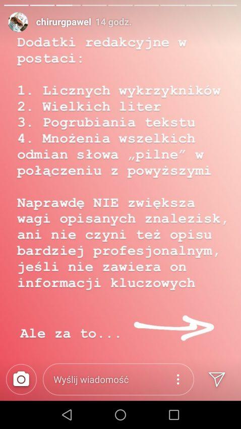 screenshot z relacji na Instagramie dr Pawła Kabaty
