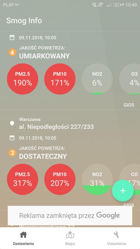 zdjęcie aplikacji smog info