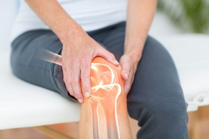 entezopatia - przekrój nogi z widoczną kością