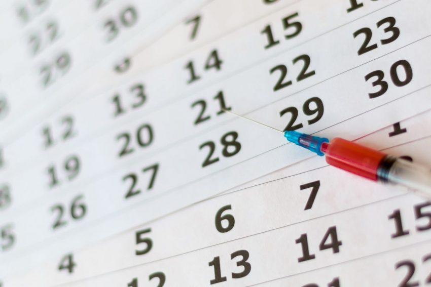 kalendarz do zaznaczania dat szczepień