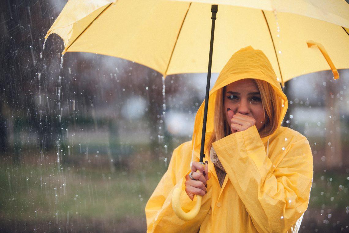 kobieta deszcz