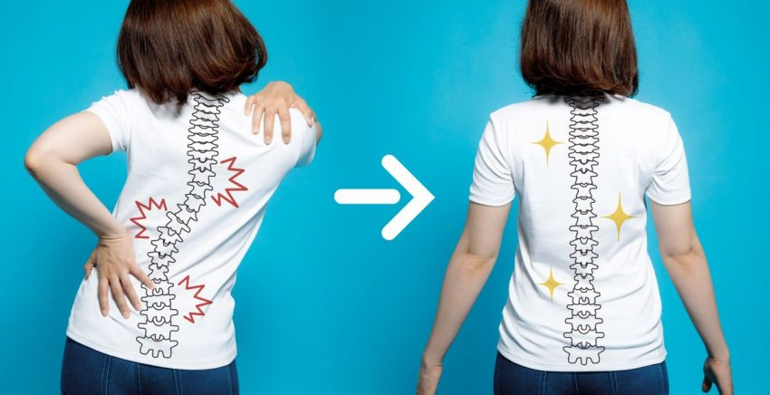 Grafika pokazująca kręgosłup przed i po nastawieniu