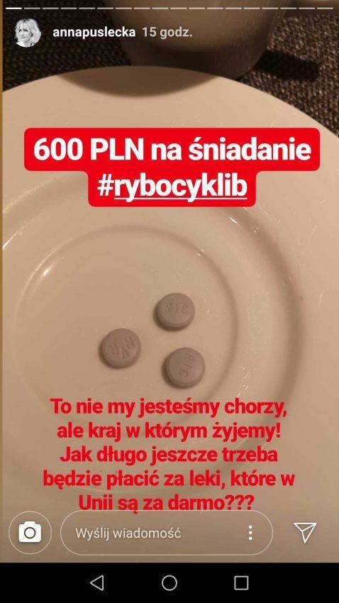 Screen z relacji Anny Puśleckiej na Instagramie
